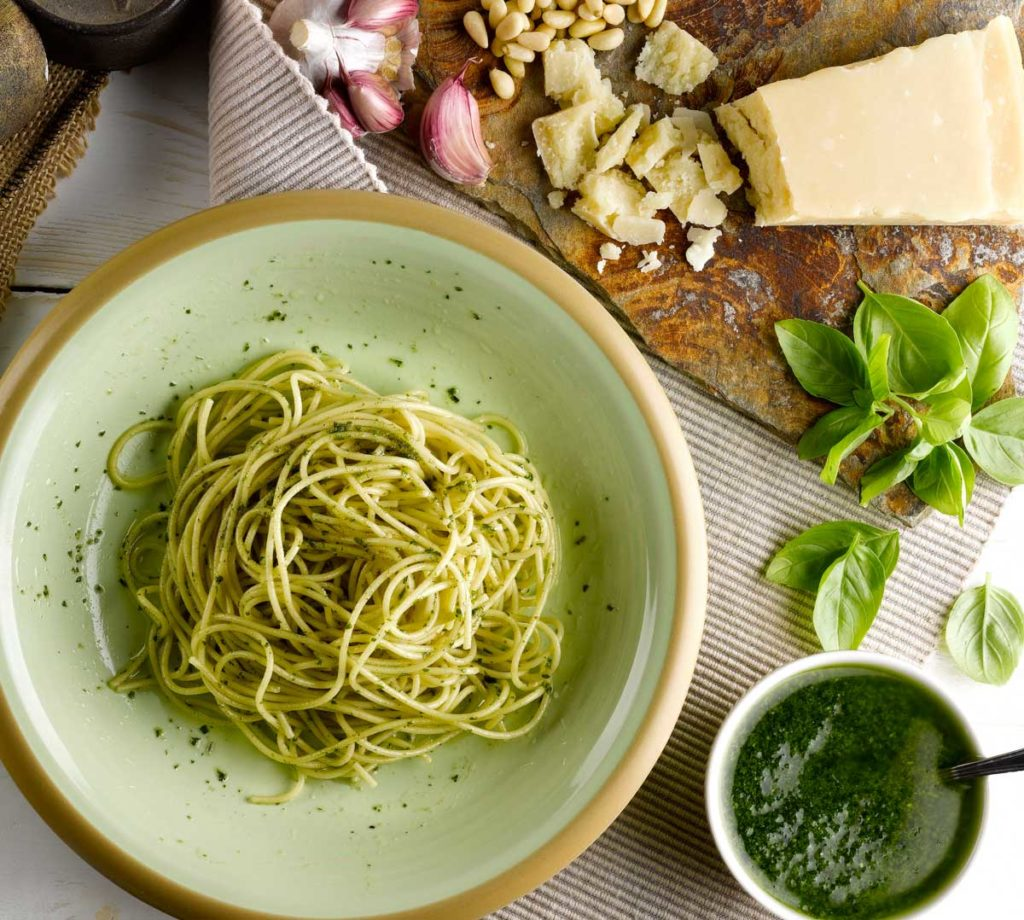 fruits receptes espaguetis pesto