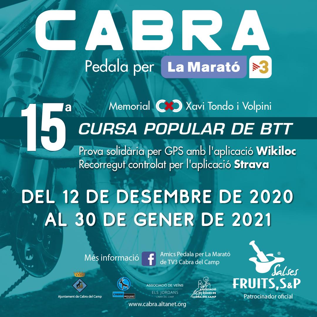 """Fruits SP patrocinadors oficials de la nova edició """"Pedala per la Marató de TV3 de Cabra del Camp"""""""